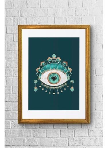 Lyn Home & Decor Yeşil Göz Çerçeveli Poster Tablo 23.5X33,5 Sarı